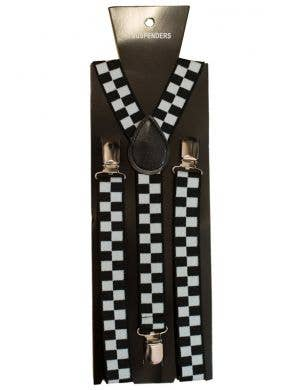 Black And White Checkerd Costume Suspenders