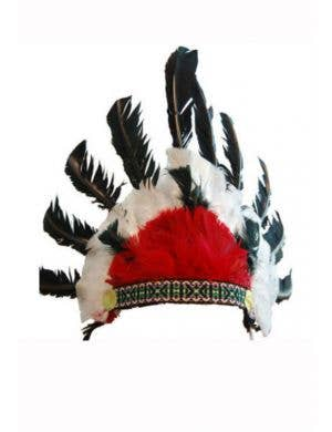 Red and Black Indian Chief Feather Headdress Costume Accessory