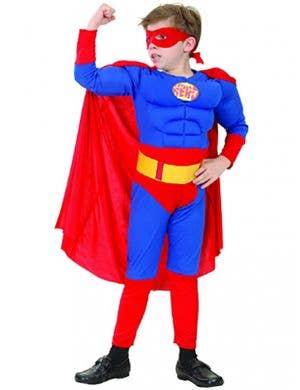 Super Hero Boys Muscle Chest Fancy Dress Costume