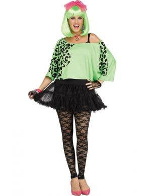 Neon Green 80's Costume Crop Top With Leopard Print