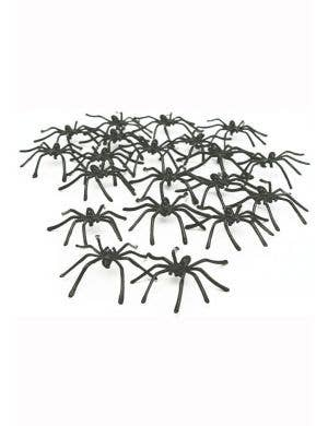 50 Pack of Plastic Black Spider Halloween Decorations