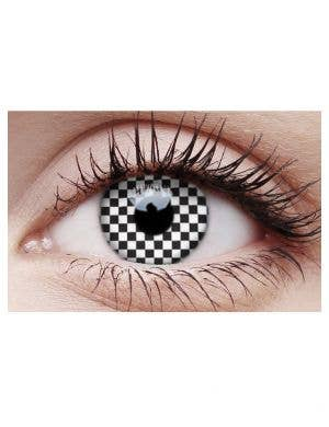 Checkered Black and White Crazy Contact Lenses