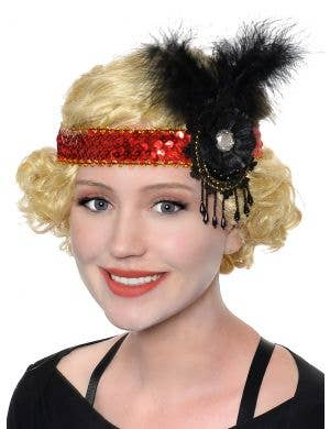 1920's Red and Black Sequinned Flapper Headband