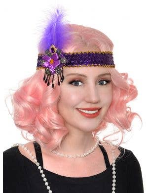 Purple Sequin, Feather and Beads Flapper Headband