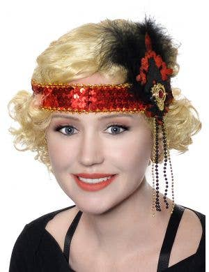 1920's Red and Black Sequins and Glitter Flapper Headband