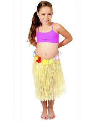 Girls Yellow Hawaiian Hula Skirt with Flowers