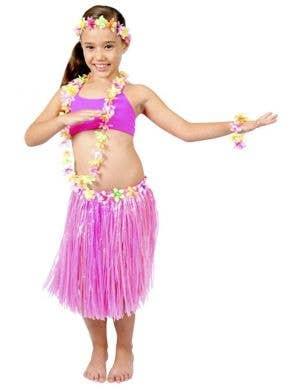 Pink Hawaiian Girl's Grass Skirt and Lei Costume Kit