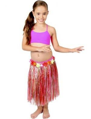 Girls Red Hawaiian Hula Skirt with Flowers