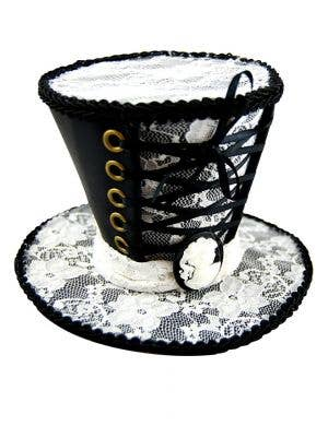 Gothic Black and White Lace Mini Top Hat
