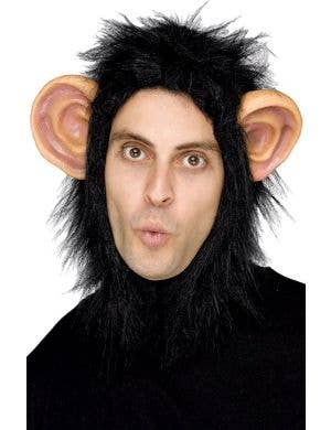 Man or Beast - Chimp Hood with PVC Ears Adults Costume Mask