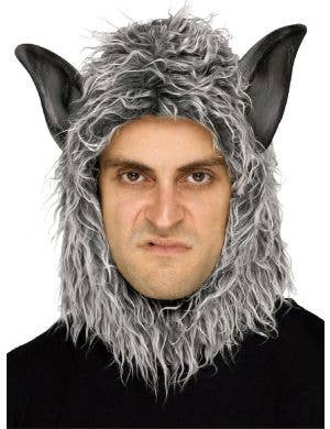 Man or Beast - Grey Wolf Hood with PVC Ears Adults Costume Mask