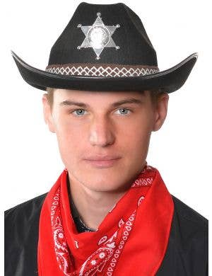 Cowboy Sheriff Adult's Black and Silver Costume Hat