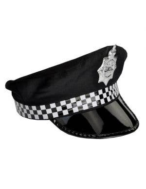 Checked Cop / Police Cap in Black