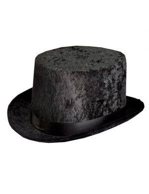 Black Velvet Costume Top Hat Front View