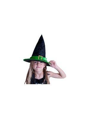 Velvet Green and Black Kids Witch Hat