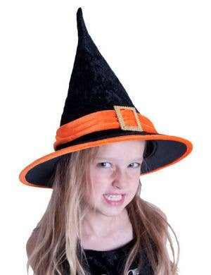 Velvet Orange and Black Kids Witch Hat