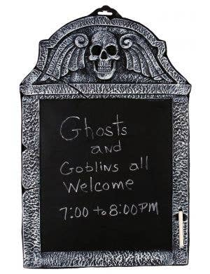 Skeleton Tombstone Chalkboard Halloween Decoration with Included Chalk