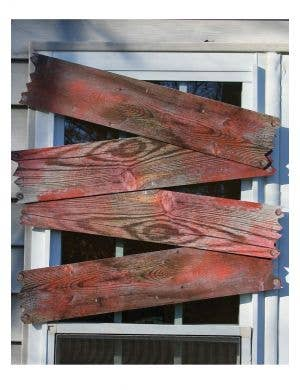 Blood Stained Haunted House Window Boards Halloween Decoration Main Image