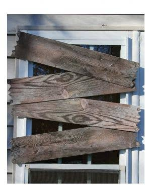 Wooden Look Haunted House Window Boards Halloween Decoration Main Image