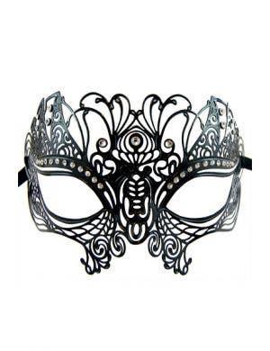 Peacock Black Metal Masquerade Mask