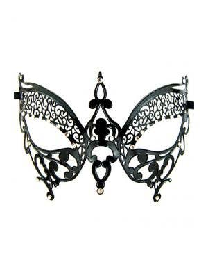 Butterfly Lightweight Black Metal Masquerade Mask