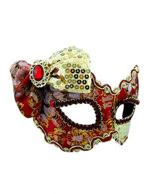 Brocade Red and Gold Sequined Bow Masquerade Mask on Glasses