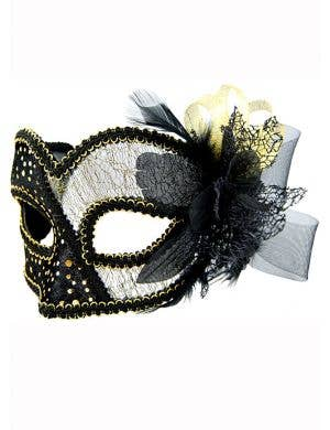Women's Sheer Lace Black Masquerade Mask
