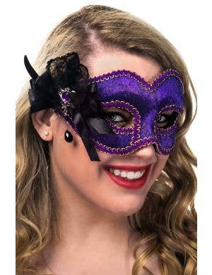Deluxe Purple Velvet  Masquerade Mask on Glasses View 1