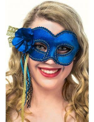 Deluxe Royal Blue Velvet Side Flower Masquerade Mask View