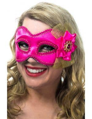 Hot Pink Side Flower Masquerade Mask on Glasses View 1