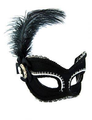 Skull Cameo Black Masquerade Mask on Glasses