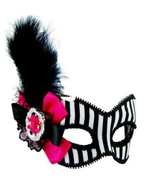 Striped Black and White Masquerade Mask on Glasses