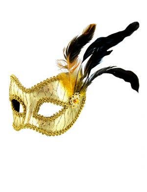 Metallic Gold Masquerade Mask on Glasses