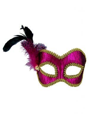 Metallic Hot Pink Masquerade Mask on Glasses