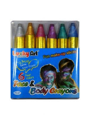 Pearlescent Coloured Mini Make Up Crayons - Pack of 6