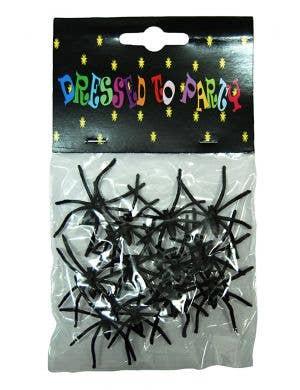12 Pack of Plastic Black Spider Halloween Decorations