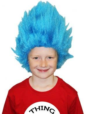Spiked Blue Kid's Thing One Character Costume Wig