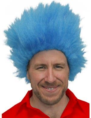 Electric Blue Adult's Thing One Character Costume Wig