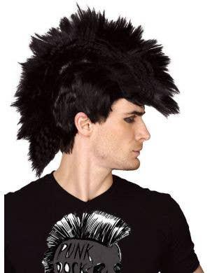 Punk Rocker Men's Black Mohawk Costume Wig
