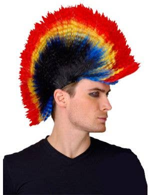 Punk Rocker Men's Rainbow Mohawk Costume Wig