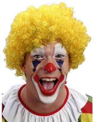Curly Yellow Clown Afro Costume Wig for Adults