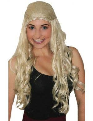 Renaissance Womens Deluxe Medieval Blonde Curly Plaited Costume Wig