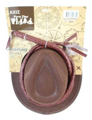 Adventurer Brown Costume Hat And Whip Accessory Kit