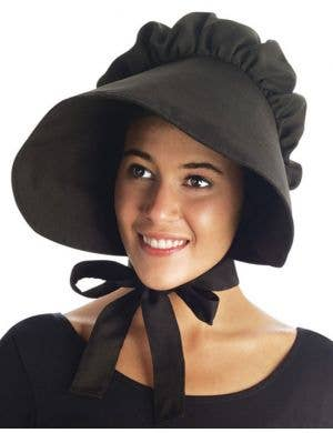 Colonial Women's Bonnet Hat - Black