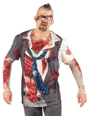 Faux Real Schoolboy Zombie Men's Halloween Costume Top