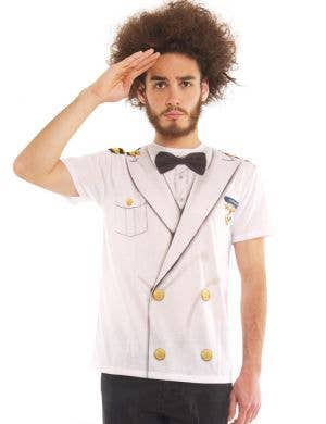 Faux Real Cruise Ship Captain Men's Costume Top