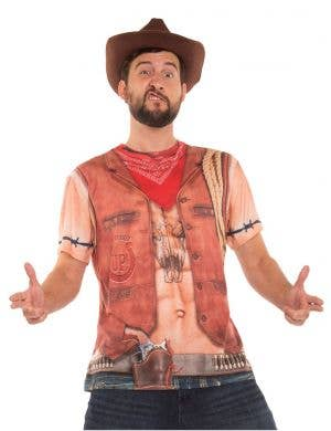 Faux Real Sexy Cowboy Men's Costume Top