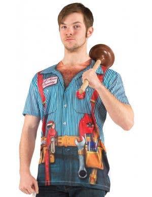 Men's Plumber with Tools Real Printed Costume T-Shirt Front View