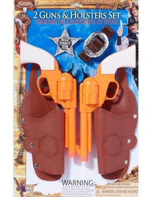 Double Holster and Badge Accessory Set With Guns