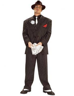 1920's Gangster Boss Men's Black And White Pinstripe Costume
